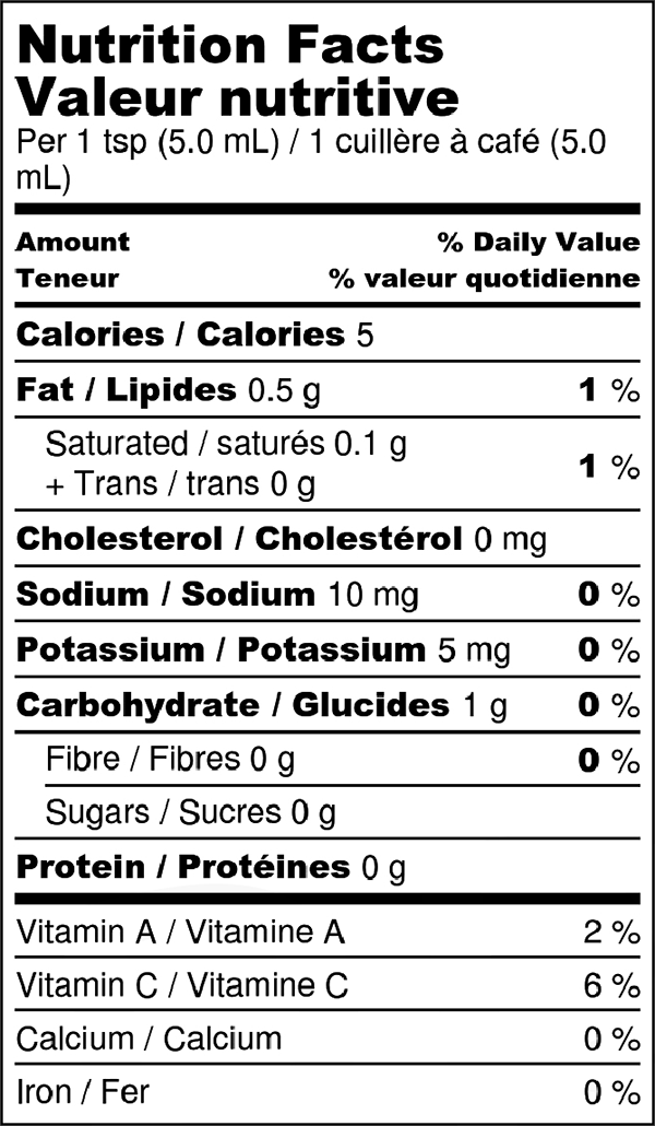 One Flame Nutrition Facts